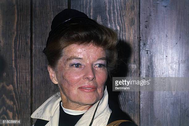 Actress Katharine Hepburn breaking a lifetime precedent poses for news photographers at a press conference during which she introduced her niece...