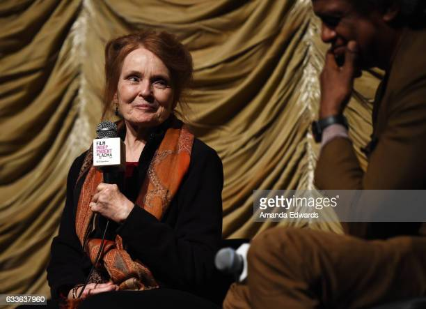 Actress Katharine Houghton and film critic Elvis Mitchell attend the Film Independent Screening and QA of Guess Who's Coming To Dinner at LACMA on...