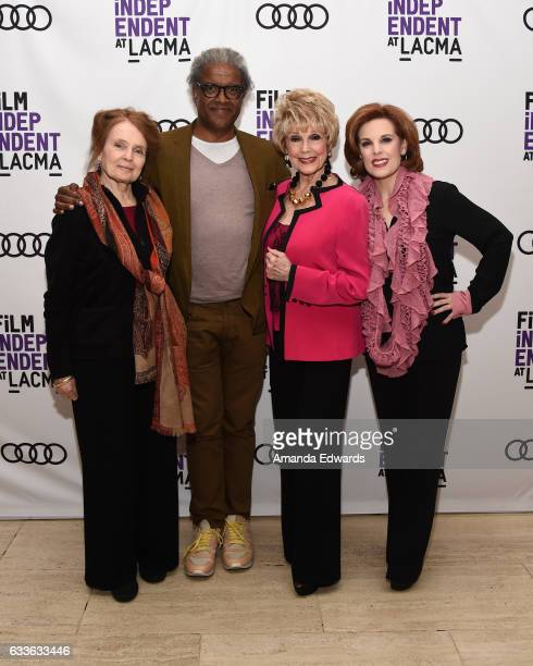 Actress Katharine Houghton film critic Elvis Mitchell actress Karen Sharpe Kramer and producer Kat Kramer attend the Film Independent Screening and...