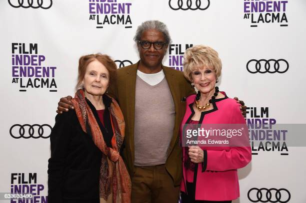 Actress Katharine Houghton film critic Elvis Mitchell and actress Karen Sharpe Kramer attend the Film Independent Screening and QA of Guess Who's...