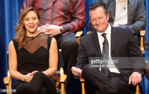 Actress Katharine McPhee and actor Robert Patrick speak during The Paley Center for Media's PaleyFest 2014 Fall TV Review - CBS, at The Paley Center...