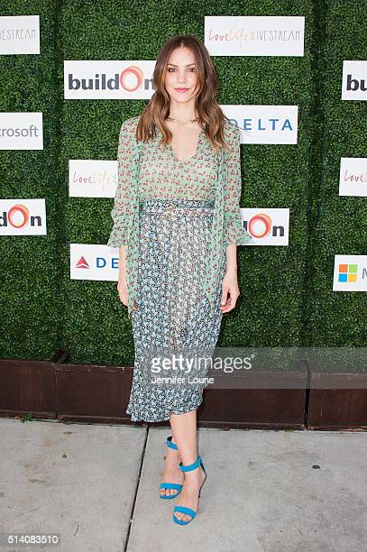 Actress Katharine McPhee arrives at the 2nd Annual LoveLife Fundraiser to support buildOn hosted by Travis Van Winkle at the Microsoft Lounge on...