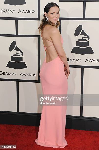 Actress Katharine McPhee arrives at the 57th GRAMMY Awards at Staples Center on February 8 2015 in Los Angeles California