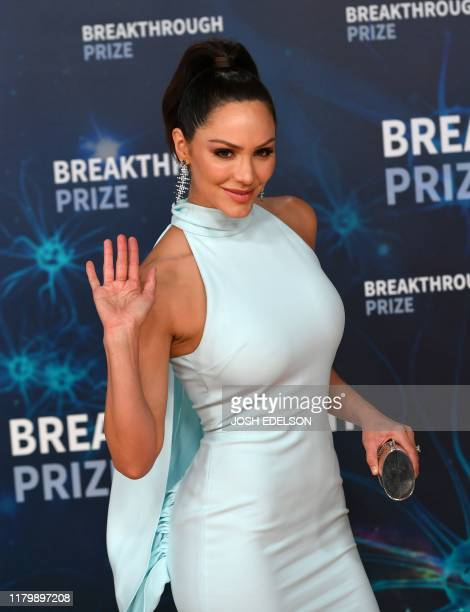 US actress Katharine McPhee arrives for the 8th annual Breakthrough Prize awards ceremony at NASA Ames Research Center in Mountain View California on...