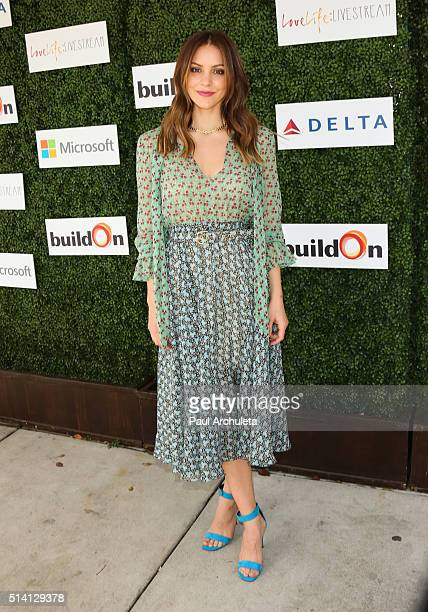 Actress Katharine McPhee attends the 2nd annual LoveLife fundraiser to support The BuildOn Organization at Microsoft Lounge on March 6 2016 in Venice...