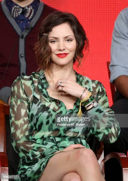 """Actress Katharine McPhee speaks onstage at the """"Smash"""" panel discussion during the NBCUniversal portion of the 2013 Winter TCA Tour- Day 3 at the..."""