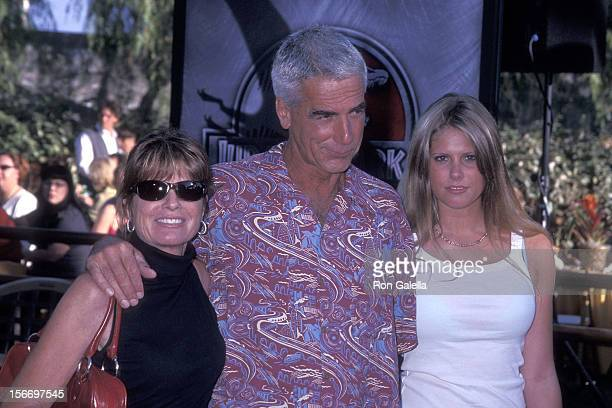 "Actress Katharine Ross, actor Sam Elliott and daughter Cleo Rose Elliott attend the ""Jurassic Park III"" Universal City Premiere on July 16, 2001 at..."