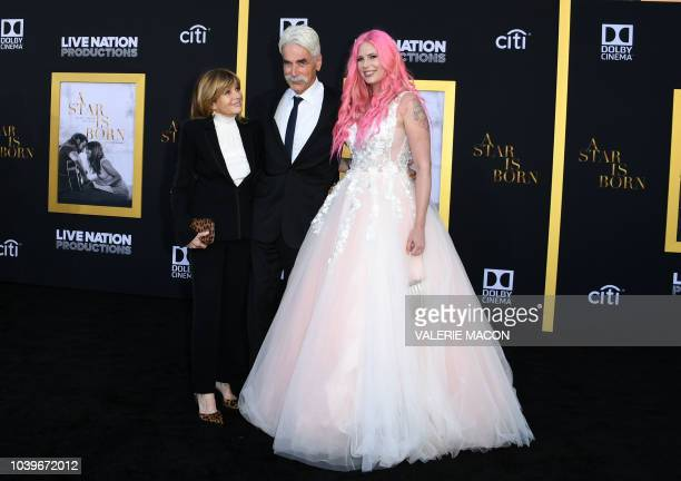 Actress Katharine Ross actor Sam Elliott and their daughter musician Cleo Rose Elliott attend the premiere of A star is born at the Shrine Auditorium...