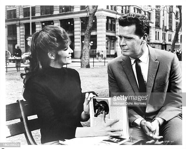 Actress Katharine Ross with actor James Garner on the set of MGM movie Mister Buddwing in 1966