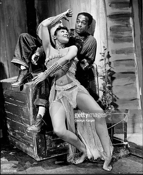 Actress Katherine Dunham and actor Dooley Wilson performing in the play Cabin in the Sky