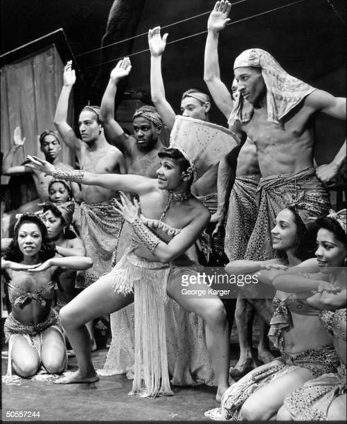 Actress Katherine Dunham performing with others in the play Cabin in the Sky