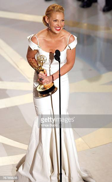 "Actress Katherine Heigl accepts the Outstanding Supporting Actress in a Drama Series award for ""Grey's Anatomy"" onstage during the 59th Annual..."