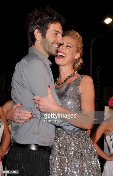 Actress Katherine Heigl and husband Josh Kelley arrive at the premiere of 20th Century Fox's 27 Dresses held at the Mann Village on January 7 2008 in...