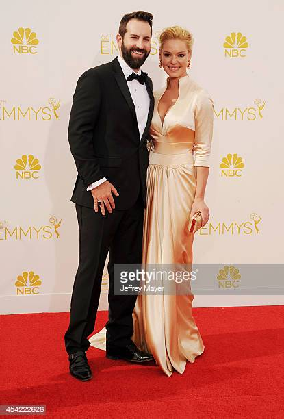 Actress Katherine Heigl and husband/singer Josh Kelley arrive at the 66th Annual Primetime Emmy Awards at Nokia Theatre L.A. Live on August 25, 2014...