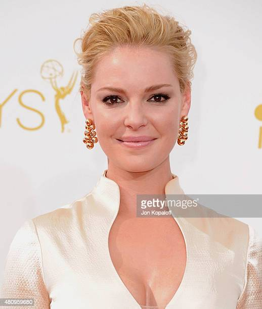 Actress Katherine Heigl arrives at the 66th Annual Primetime Emmy Awards at Nokia Theatre LA Live on August 25 2014 in Los Angeles California