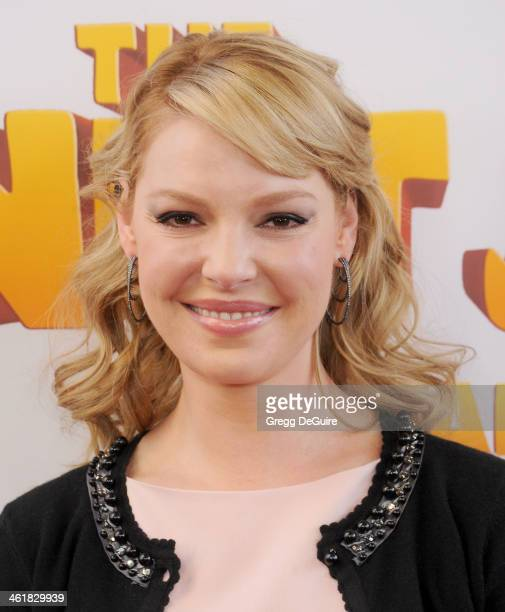 "Actress Katherine Heigl arrives at the Los Angeles premiere of ""The Nut Job"" at Regal Cinemas L.A. Live on January 11, 2014 in Los Angeles,..."