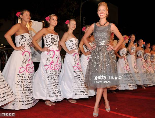 Actress Katherine Heigl arrives at the premiere of 20th Century Fox's 27 Dresses held at the Mann Village on January 7 2008 in Los Angeles California