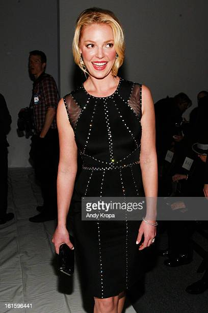 Actress Katherine Heigl attends the Jenny Packham Fall 2013 fashion show during MercedesBenz Fashion Week at The Studio at Lincoln Center on February...