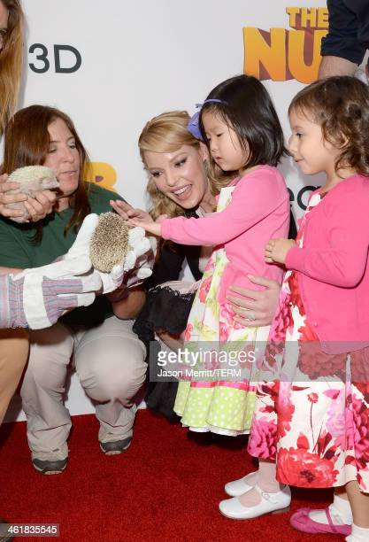 Actress Katherine Heigl husband Josh Kelley and daughter Nancy 'Naleigh' Leigh attend the premiere of 'The Nut Job' at Regal Cinemas LA Live on...