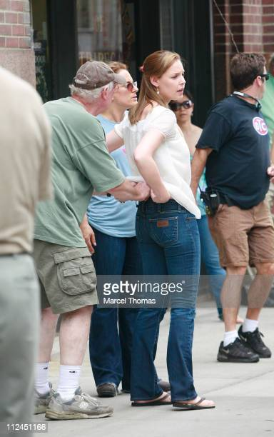Actress Katherine Heigl sighting as she films a scene for her new movie '27 Dresses' on location in Tribeca New York