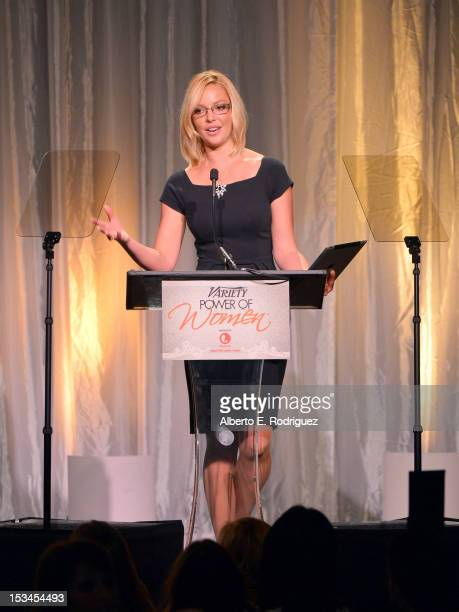 Actress Katherine Heigl speaks at Variety's 4th Annual Power of Women Event Presented by Lifetime at the Beverly Wilshire Four Seasons Hotel on...