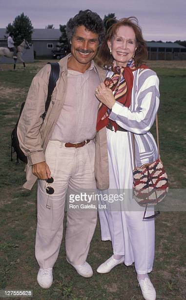 Actress Katherine Helmond and husband David Christian attend Cartier Celebrity Polo Match on July 28 1990 in Bridgehamton New York