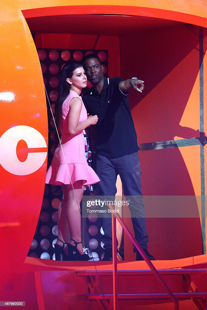 Actress Katherine Herzer and comedian Chris Rock speak onstage during the Nickelodeon's 28th Annual Kids' Choice Awards held at The Forum on March 28, 2015 in Inglewood, California.