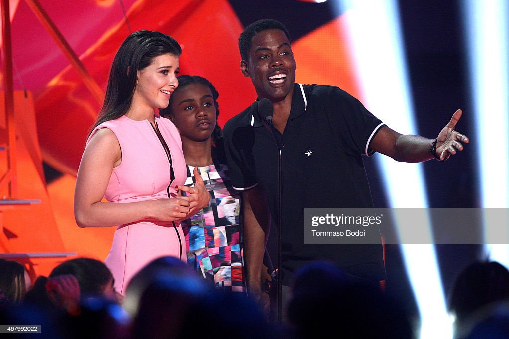 Actress Katherine Herzer, Lola Simone Rock and comedian Chris Rock speak onstage during the Nickelodeon's 28th Annual Kids' Choice Awards held at The Forum on March 28, 2015 in Inglewood, California.
