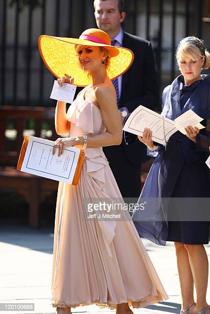 Actress Katherine Kelly departs from the Royal wedding of Zara Phillips and Mike Tindall at Canongate Kirk on July 30, 2011 in Edinburgh, Scotland....