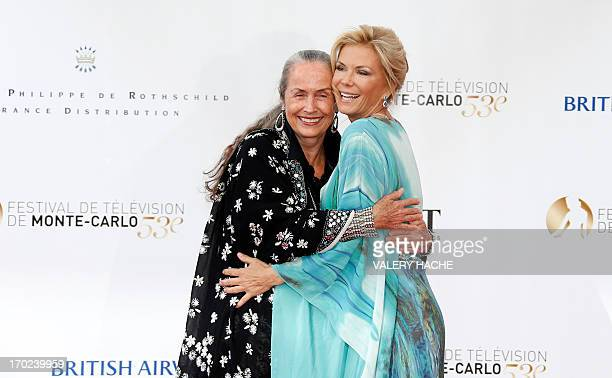 US actress Katherine Kelly Lang and her mother actress Judith Lang pose on June 9 2013 during the opening ceremony of the 53rd MonteCarlo Television...