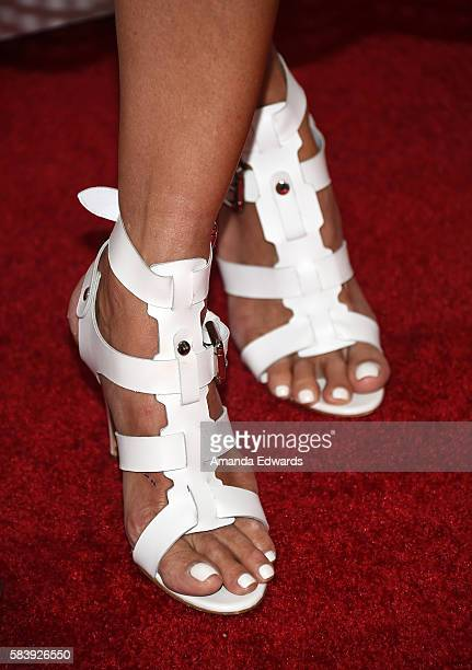 Actress Katherine LaNasa shoe detail arrives at the Raising The Bar To End Parkinson's event at Laurel Point on July 27 2016 in Studio City California