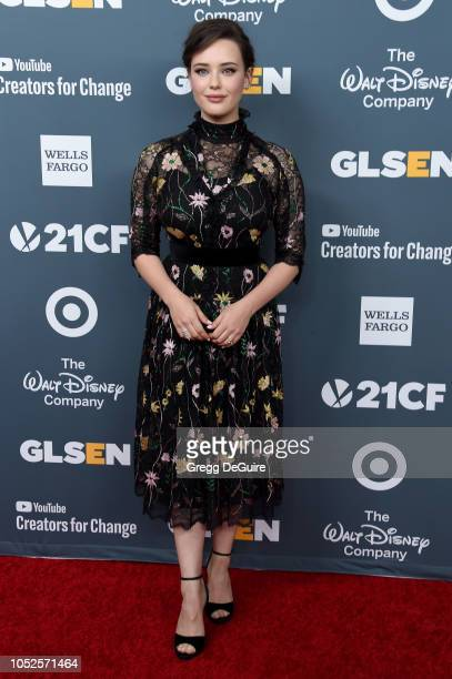 Actress Katherine Langford arrives at the GLSEN Respect Awards at the Beverly Wilshire Four Seasons Hotel on October 19 2018 in Beverly Hills...