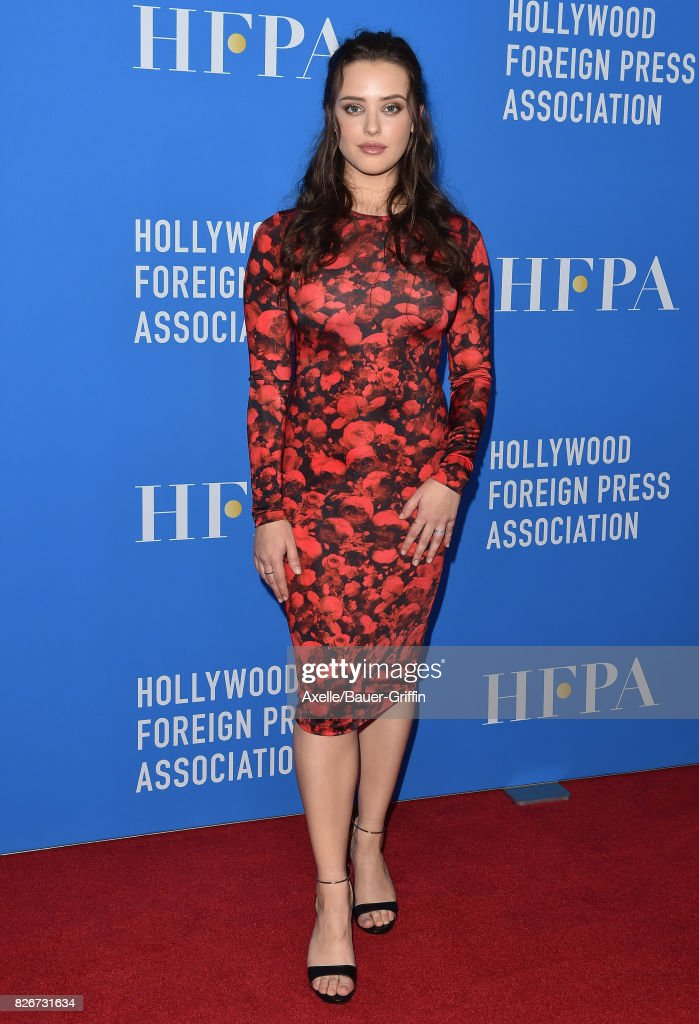 Actress Katherine Langford arrives at the Hollywood Foreign Press Association's Grants Banquet at the Beverly Wilshire Four Seasons Hotel on August 2, 2017 in Beverly Hills, California.