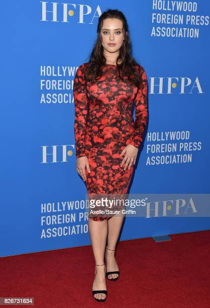 Actress Katherine Langford arrives at the Hollywood Foreign Press Association's Grants Banquet at the Beverly Wilshire Four Seasons Hotel on August 2...