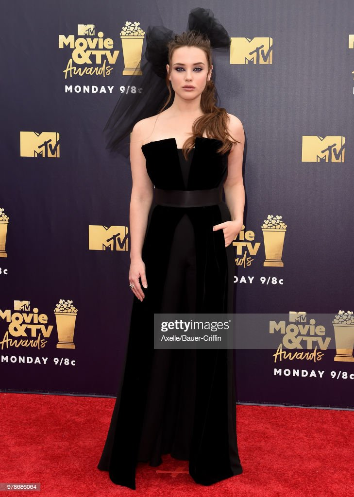 Actress Katherine Langford attends the 2018 MTV Movie And TV Awards at Barker Hangar on June 16, 2018 in Santa Monica, California.