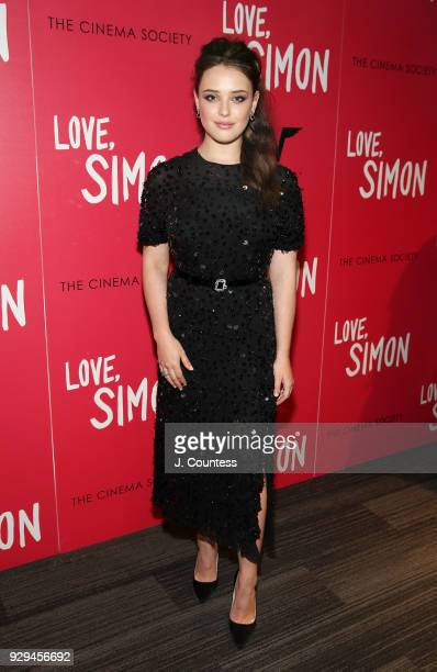 "Actress Katherine Langford poses for a photo at the screening of ""Love, Simon"" hosted by 20th Century Fox & Wingman at The Landmark at 57 West on..."