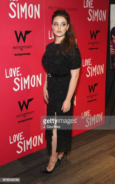 Actress Katherine Langford poses for a photo at the screening of 'Love Simon' hosted by 20th Century Fox Wingman at The Landmark at 57 West on March...