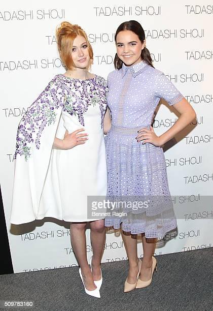Actress Katherine McNamara and actress Bailee Madison attend Tadashi Shoji Fall 2016 New York Fashion Week The Shows at The Arc Skylight at Moynihan...