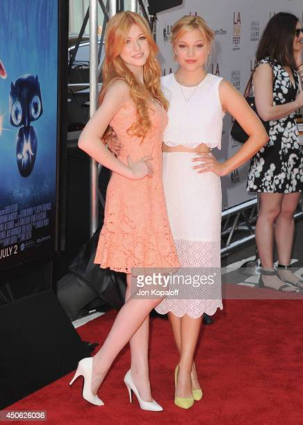 Actress Katherine McNamara and actress Olivia Holt arrive at the 2014 Los Angeles Film Festival Screening Of Earth To Echo at Regal Cinemas LA Live...