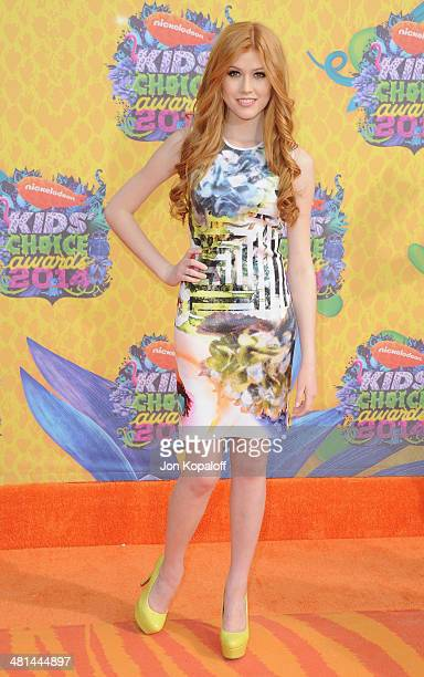 Actress Katherine McNamara arrives at Nickelodeon's 27th Annual Kids' Choice Awards at USC Galen Center on March 29 2014 in Los Angeles California
