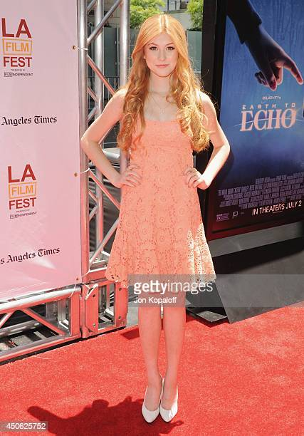 Actress Katherine McNamara arrives at the 2014 Los Angeles Film Festival Screening Of Earth To Echo at Regal Cinemas LA Live on June 14 2014 in Los...