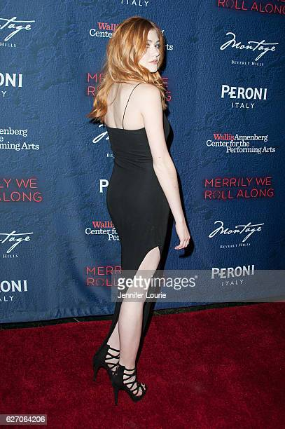 Actress Katherine McNamara arrives at the opening night of 'Merrily We Roll Along' at the Wallis Annenberg Center for the Performing Arts on November...