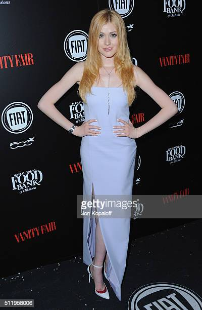 Actress Katherine McNamara arrives at Vanity Fair And FIAT Toast To Young Hollywood at Chateau Marmont on February 23 2016 in Los Angeles California