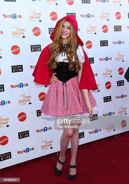 Actress Katherine McNamara attends the Keep A Child Alive 2012 Dream Halloween Los Angeles charity event at Barker Hangar on October 27 2012 in Santa...