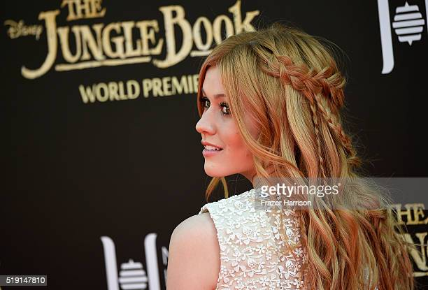 Actress Katherine McNamara attends the premiere of Disney's The Jungle Book at the El Capitan Theatre on April 4 2016 in Hollywood California