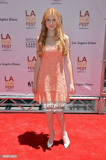 Actress Katherine McNamara attends the premiere of Earth to Echo during the 2014 Los Angeles Film Festival at Premiere House on June 14 2014 in Los...
