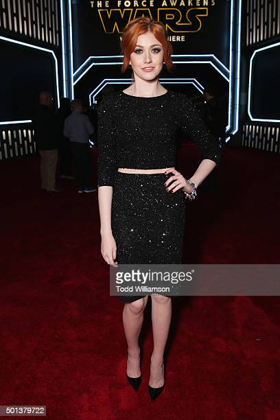Actress Katherine McNamara attends the Premiere of Walt Disney Pictures and Lucasfilm's Star Wars The Force Awakens on December 14 2015 in Hollywood...