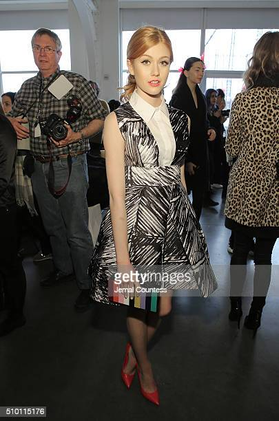 Actress Katherine McNamara poses for a photo backstage at the Milly Fall 2016 Fashion Show at Pier 59 Studios on February 12 2016 in New York City