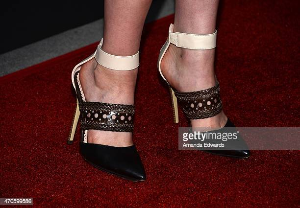 """Actress Katherine McNamara, shoe detail, arrives at the Los Angeles premiere of """"See You In Valhalla"""" at the ArcLight Cinemas on April 21, 2015 in..."""