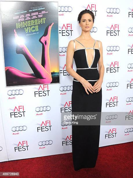 Actress Katherine Waterston arrives at AFI FEST 2014 Presented by Audi Gala Premiere of 'Inherent Vice' at the Egyptian Theatre on November 8 2014 in...